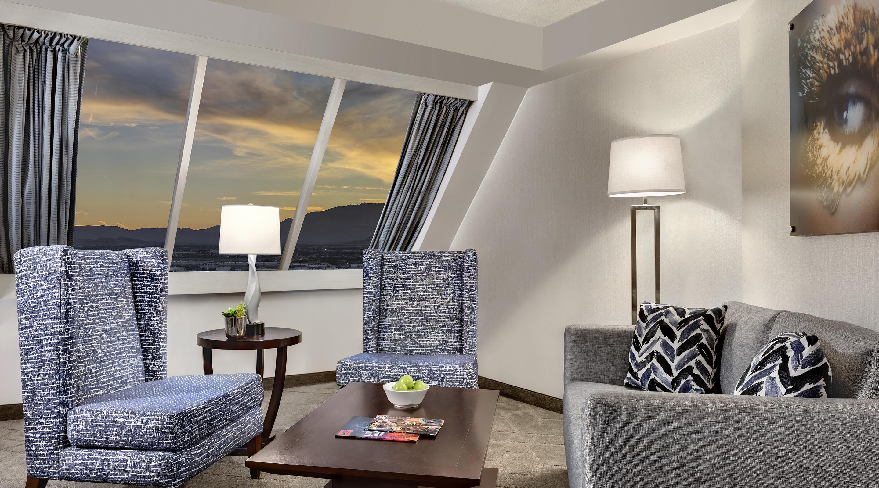 Renovated sitting room in the Pyramid Premium Corner Suite.