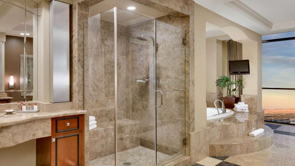Master bathroom in the Tower One Bedroom Luxury Penthouse Suite.