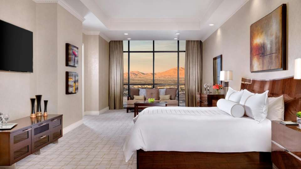 Master bedroom in the Tower One Bedroom Luxury Penthouse Suite.