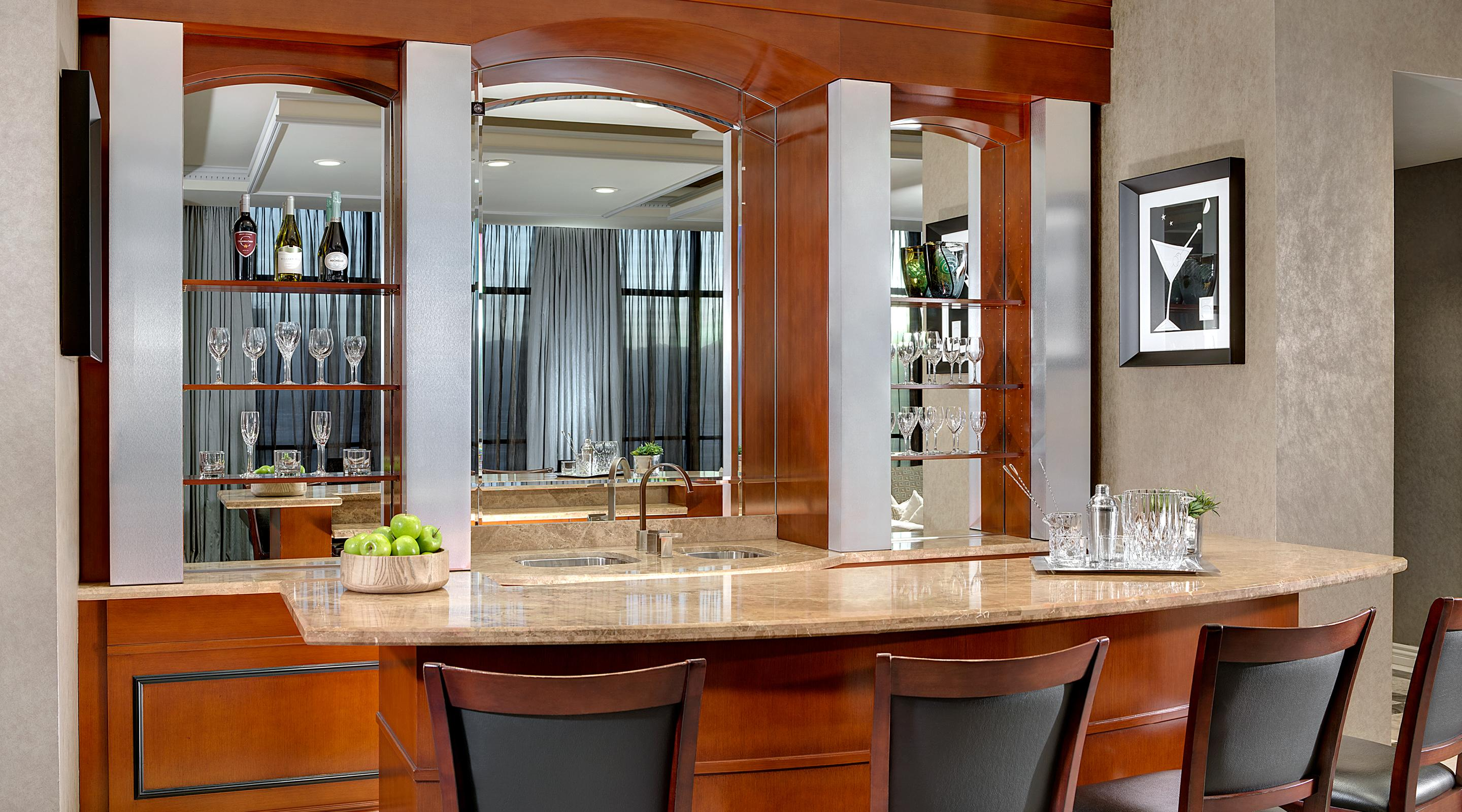 Wet Bar in the Tower One Bedroom Luxury Penthouse Suite.