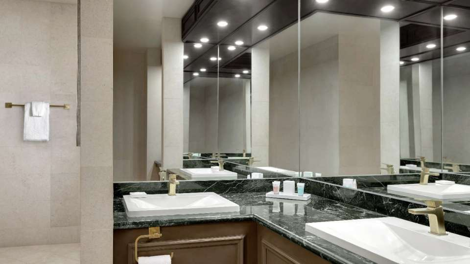 Double sinks in bathroom of Tower Premier Suite.