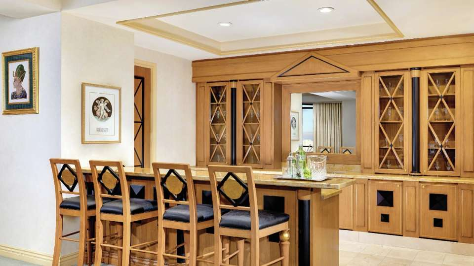 Wet Bar of a Two Bedroom Penthouse Suite.