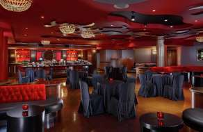 The Red Room of the Velvet Room can hold up to 125-150 guests.