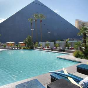 The size of the pyramid is evident from the pool. Luxor Las Vegas is 25% smaller than the Great Pyramid at Giza.