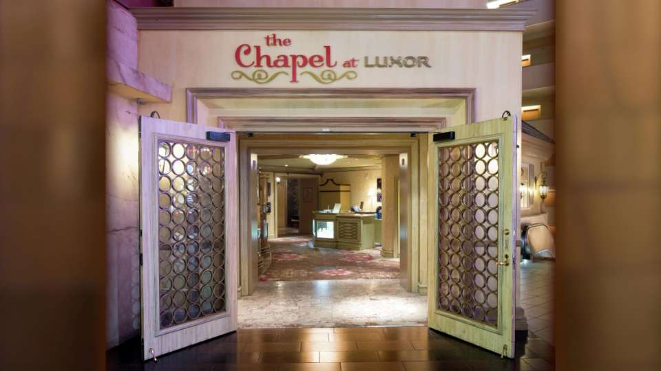The open doors welcome you inside the Chapel at Luxor.