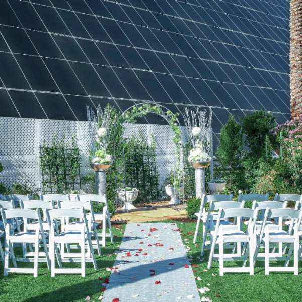 Outdoor wedding at the base of the Pyramid.