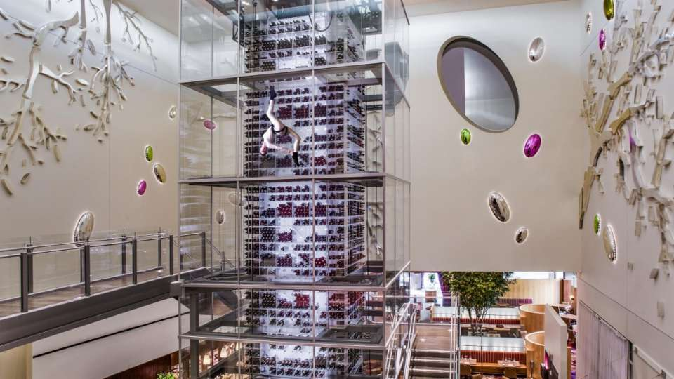 Wine Tower at Aureole with Angel.