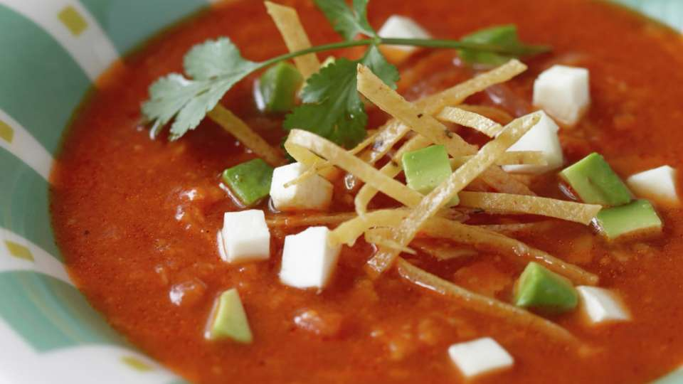 Start your meal with a delicious tortilla soup with roasted tomato broth, panela cheese, avocado and choice of shrimp or chicken.