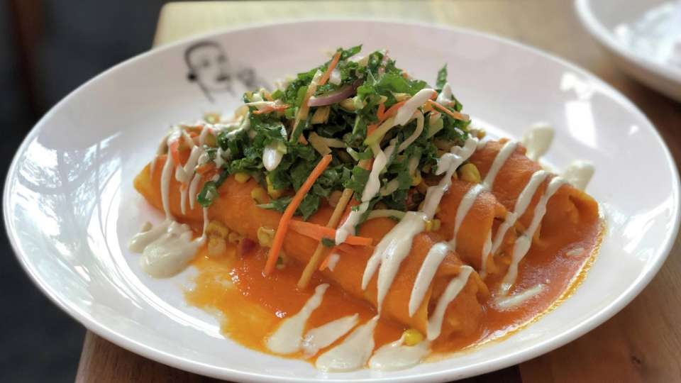 Border Grill at Mandalay Bay presents their smoked tofu enchiladas.