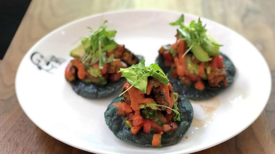 Border Grill at Mandalay Bay presents their tofu tostadas.