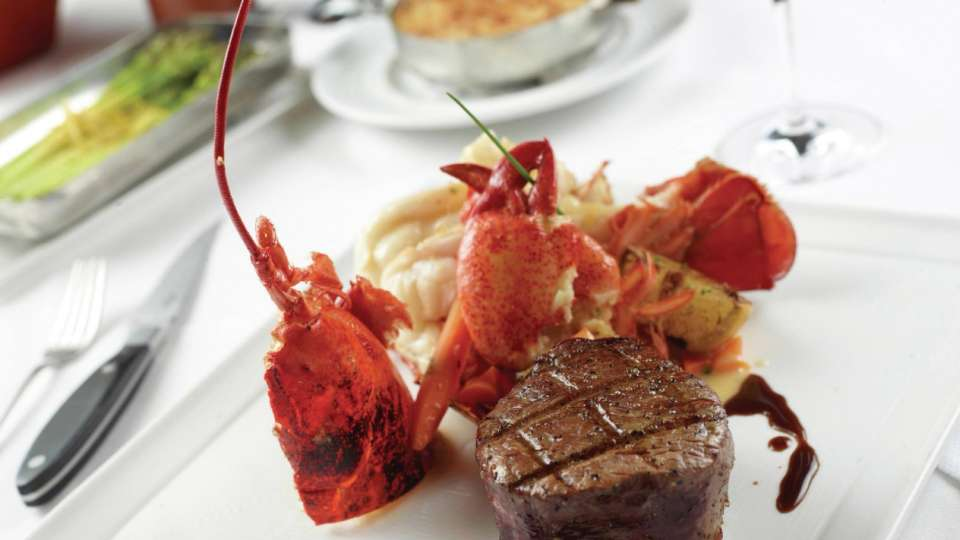 Steak and lobseter surf and turf at Charlie Palmer Steak.