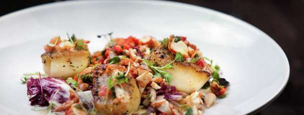 Foundation Room Restaurant located at Mandalay Bay features seared scallops on the menu.