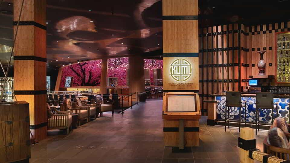 Kumi Japanese Restaurant + Bar By Akira Back at Mandalay Bay Resort and Casino features a modern Japanese menu with a Korean American twist.