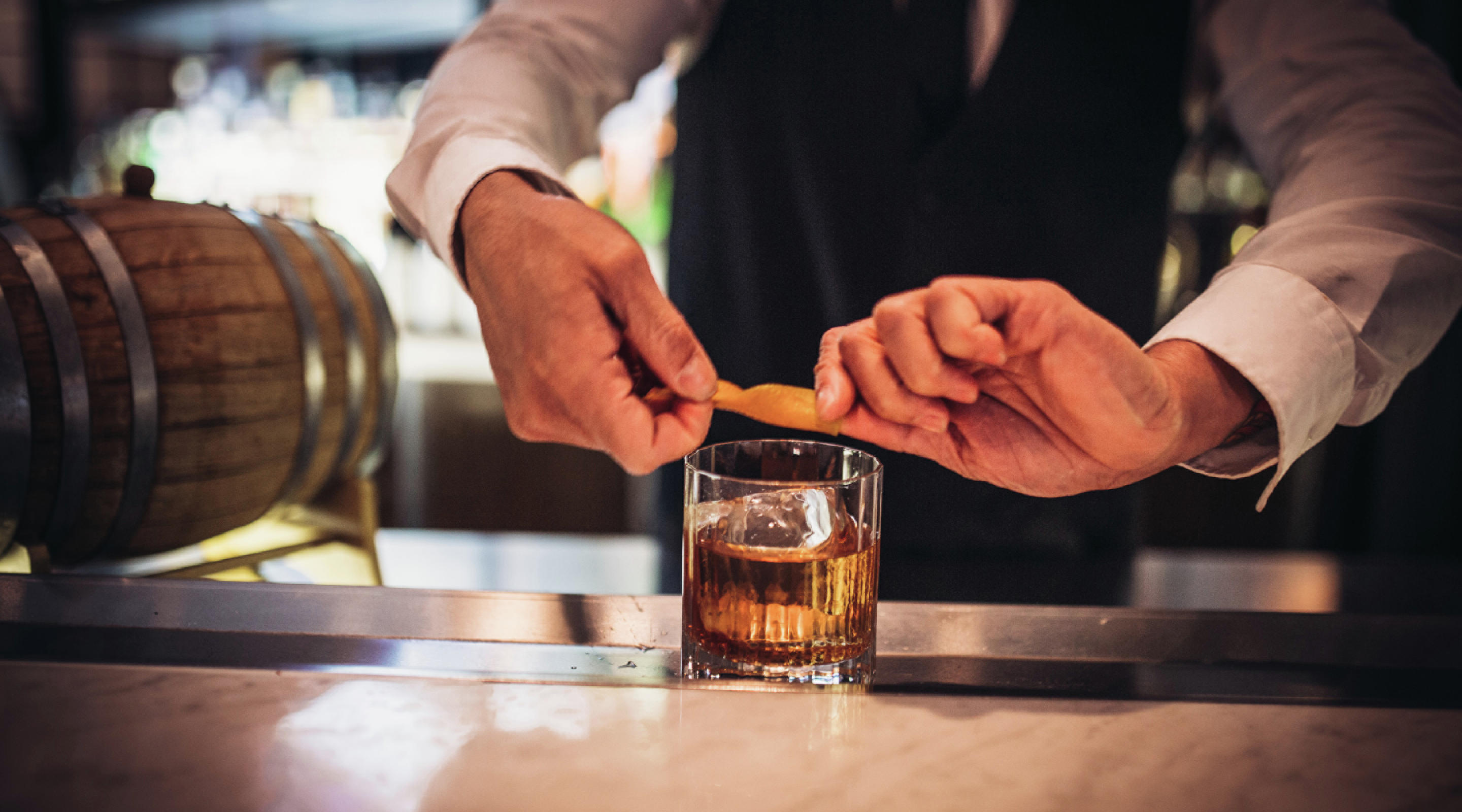 Lupo, located at Mandalay Bay, features one of their bartenders making a refreshing Old Fashioned cocktail.