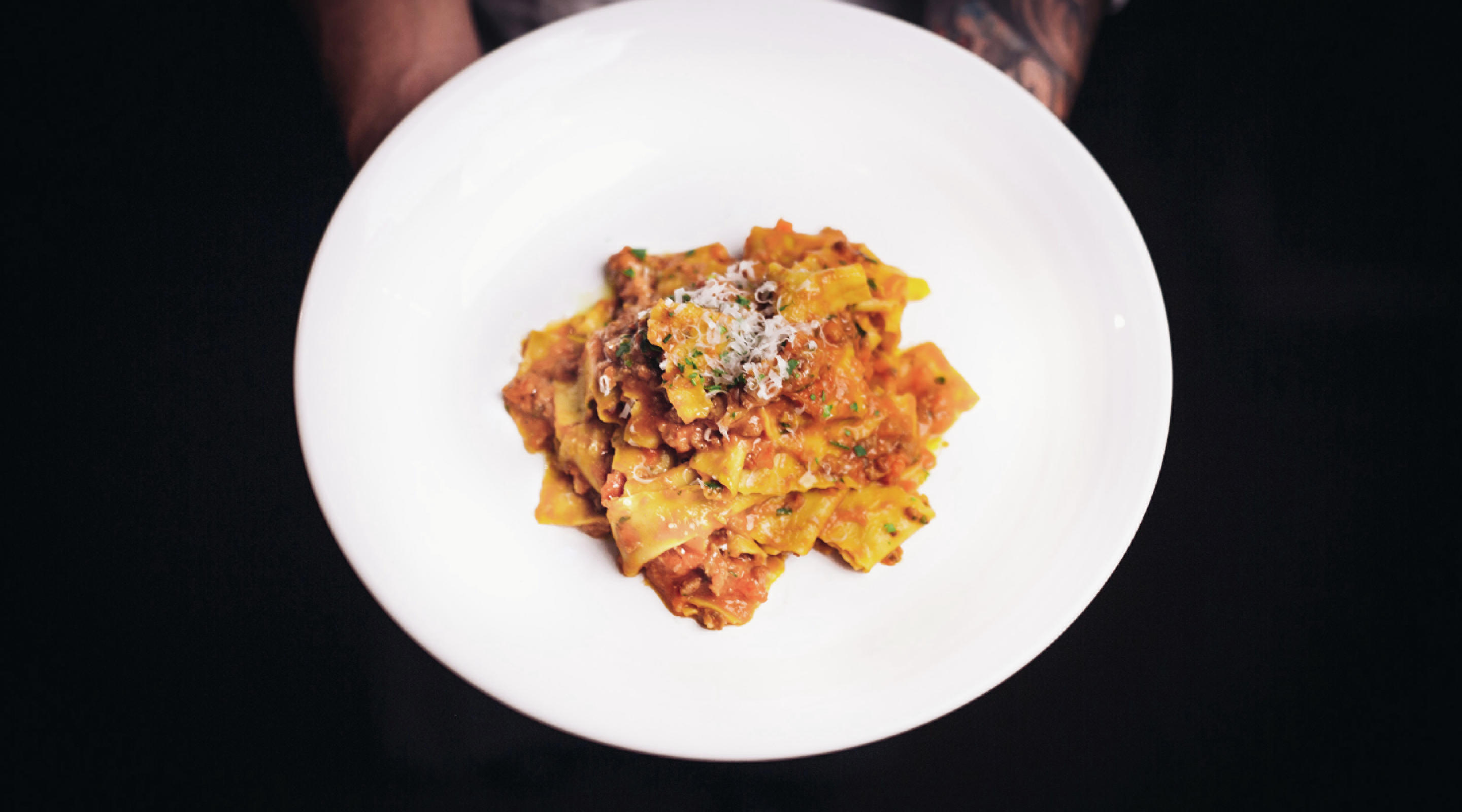 Lupo, located at Mandalay Bay, shows off their Parpadelle Bolognese.