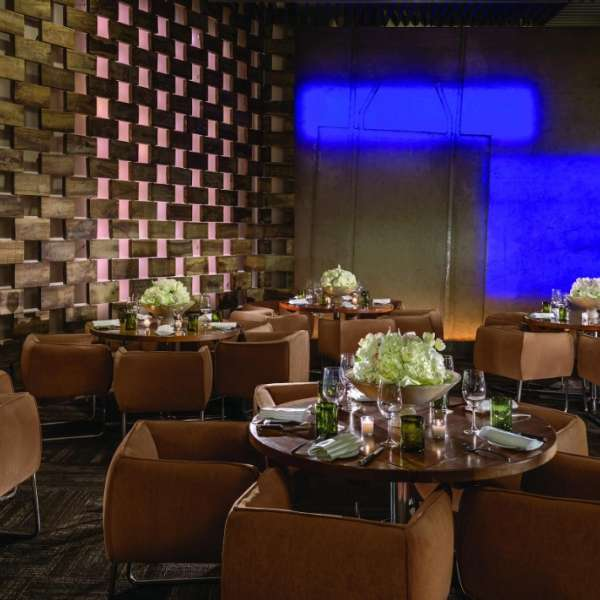 A panorama of the private dining area inside StripSteak.