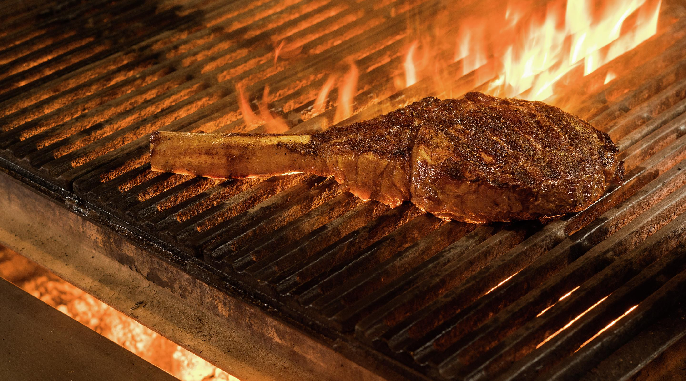 Enjoy the aromas of STRIPSTEAK as they cook over an open flame.