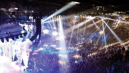 Flashing lights during a show at the Mandalay Bay Events Center.