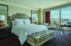 Inside angle of Four Seasons Strip View Room - Day, located at Mandalay Bay.