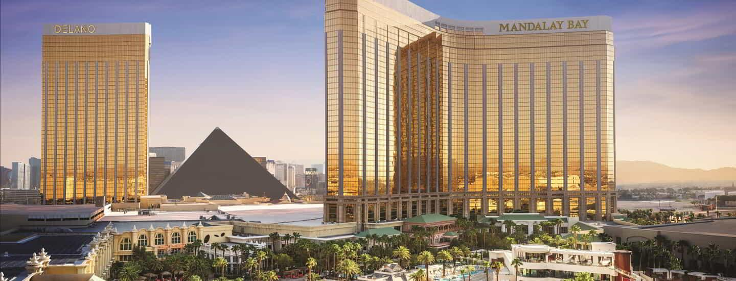 The hero shot of Mandalay Bay with beach view.