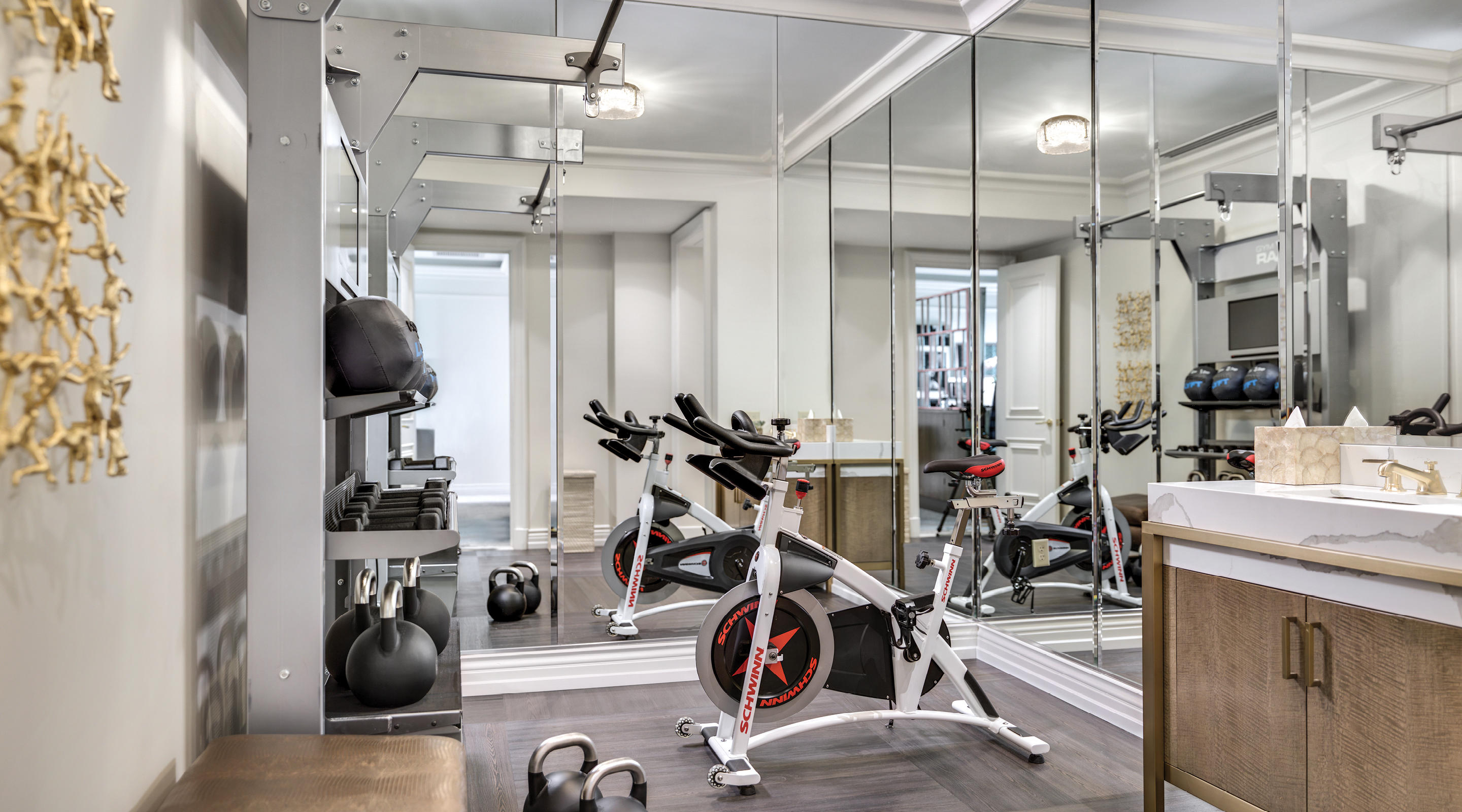 A well-supplied gym with all the essentials for a great workout.