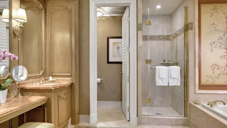 Master bathroom of the Coral Suite at Mandalay Bay.