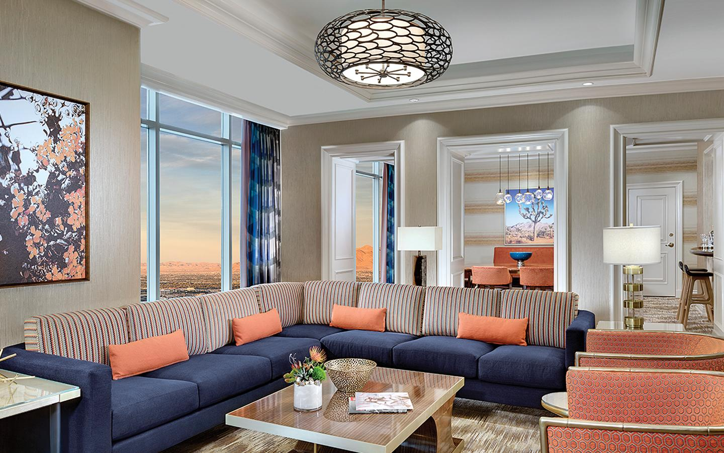 Living Room seating area in the Reef Suite at Mandalay Bay.