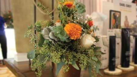 Orange and white floral center piece.