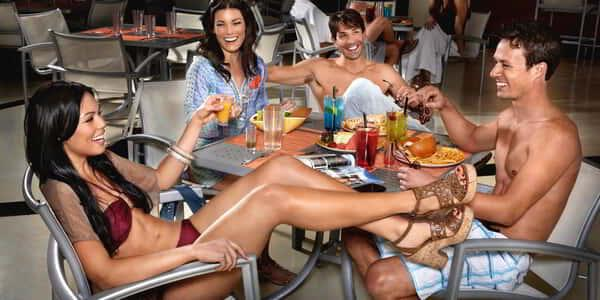 People enjoying themselves and dining at Mandalay Bay Beach Bar & Grill.