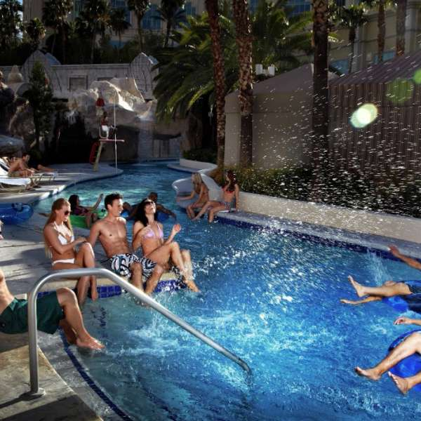 Group of people enjoying the lazy river at Mandalay Bay Beach