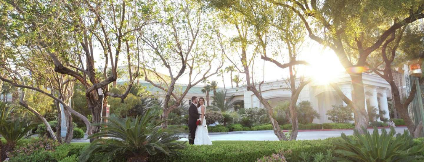 mandalay-bay-weddings-chapel-couple-in-garden