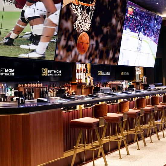 View of the bar area inside BetMGM Sports Lounge.