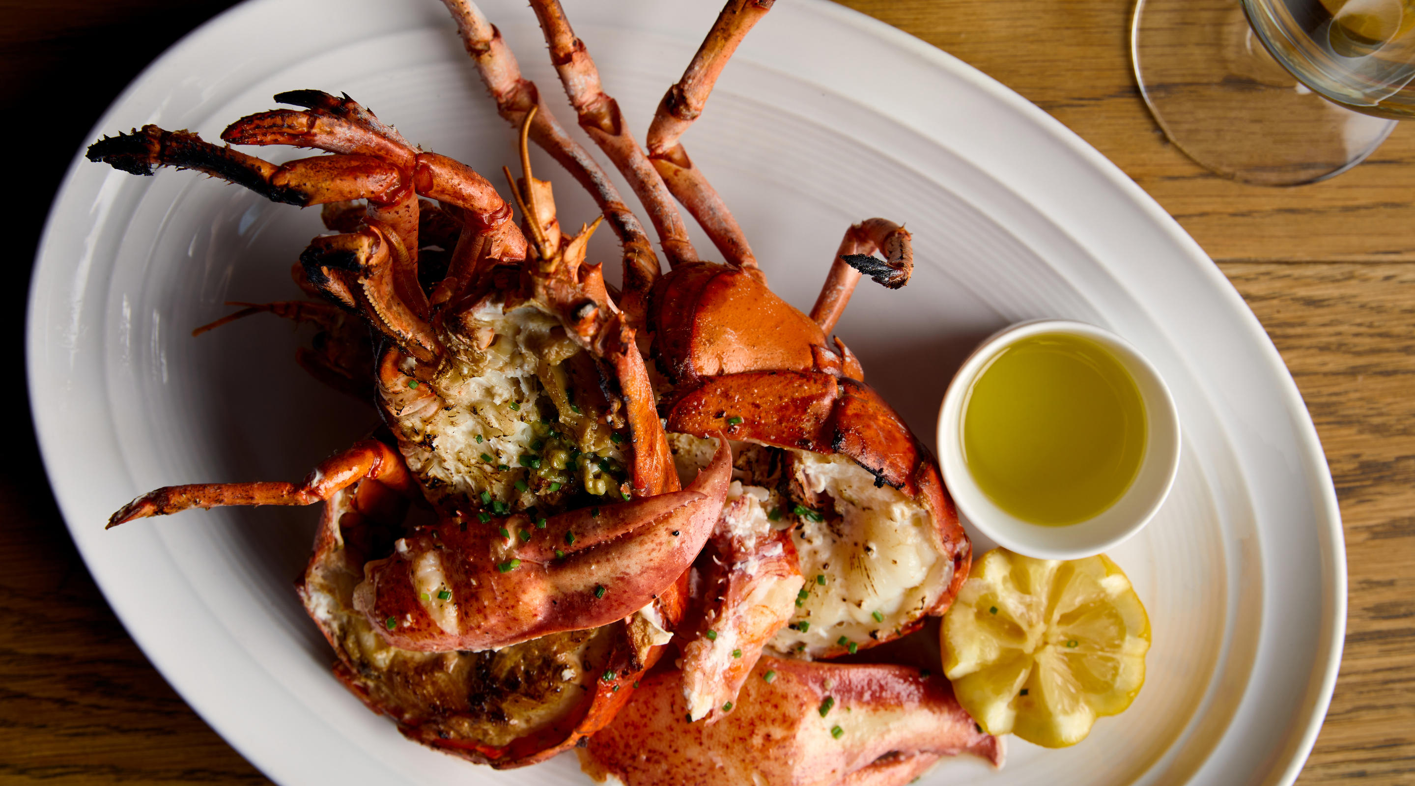 Pan-roasted lobster with butter and lemon.