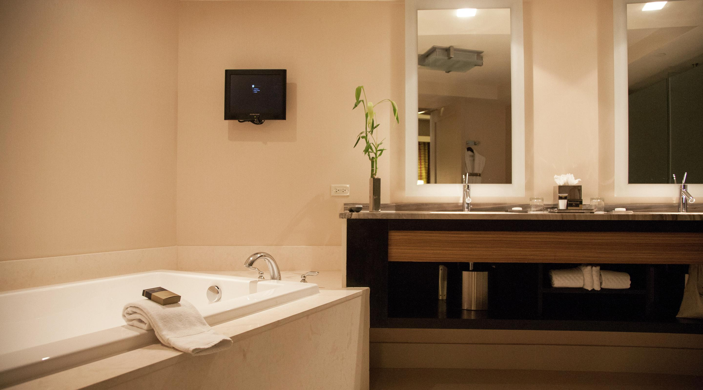 View of executive corner suite bathroom.