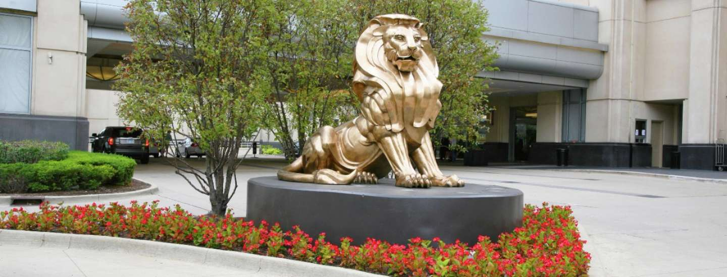 Zoomed in photo of hotel valet lion.