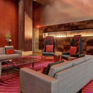 A private lobby living room exclusively for hotel guests.
