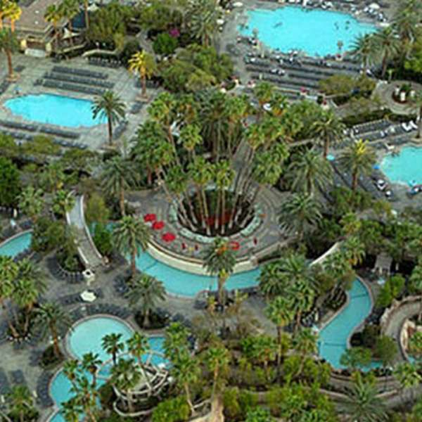 An aerial shor of the Grand Pool Complex with the lazy river at MGM Grand