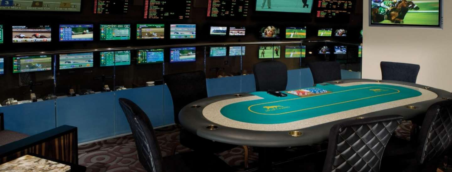 Race and Sports Book interior at MGM Grand with table poker