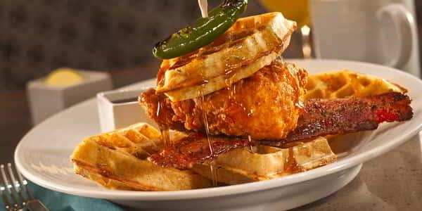 Chicken and Waffles at Avenue Café