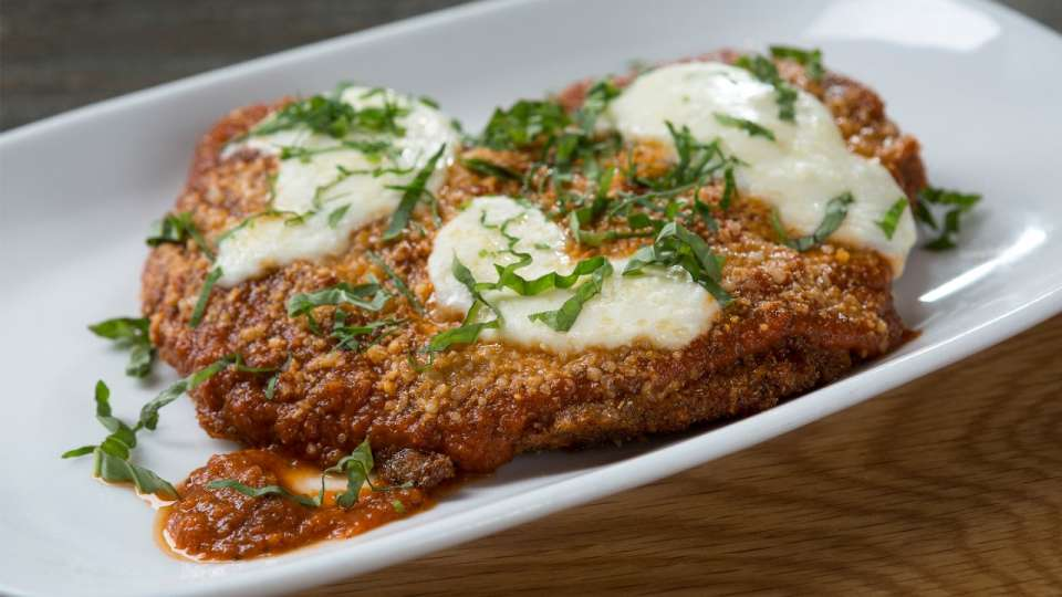 Chicken Parmesan with Fresh Mozzarella and Basil at Crush.