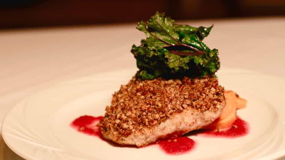 Signature Dish Cider Brined Double Cut Pork Chop at Emeril's New Orleans Fish House inside MGM Grand