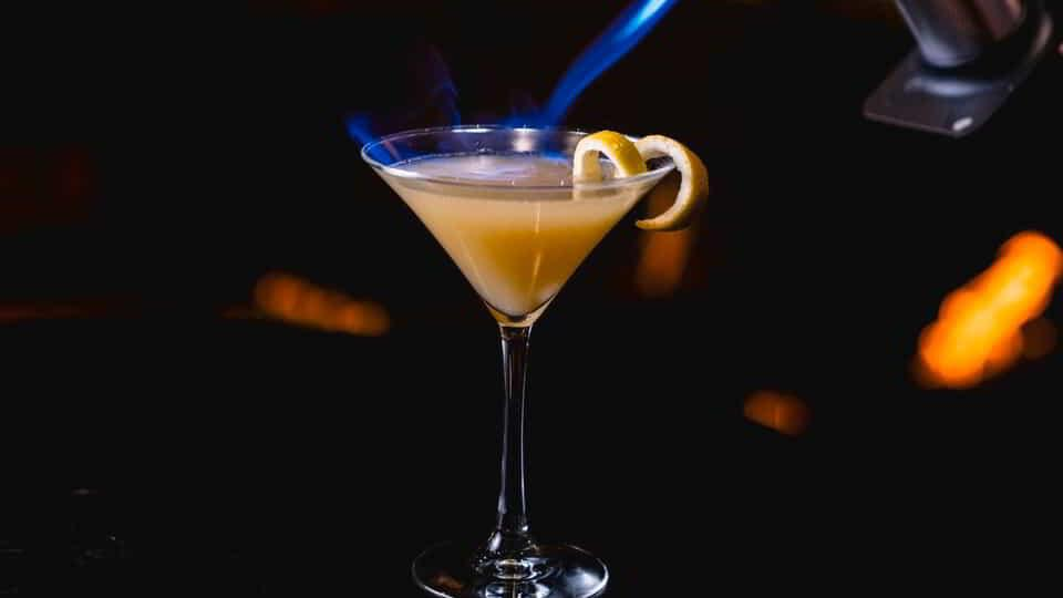 Signature drink with smoke.