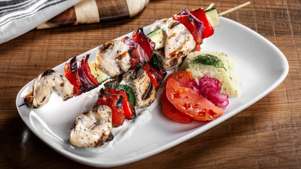 Chicken Kebabs with marinated chicken skewer, cucumber & mint couscous.