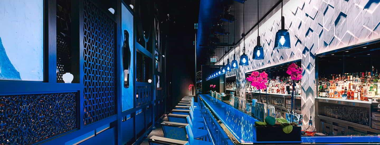 A side view of the Hakkasan Restaurant Bar