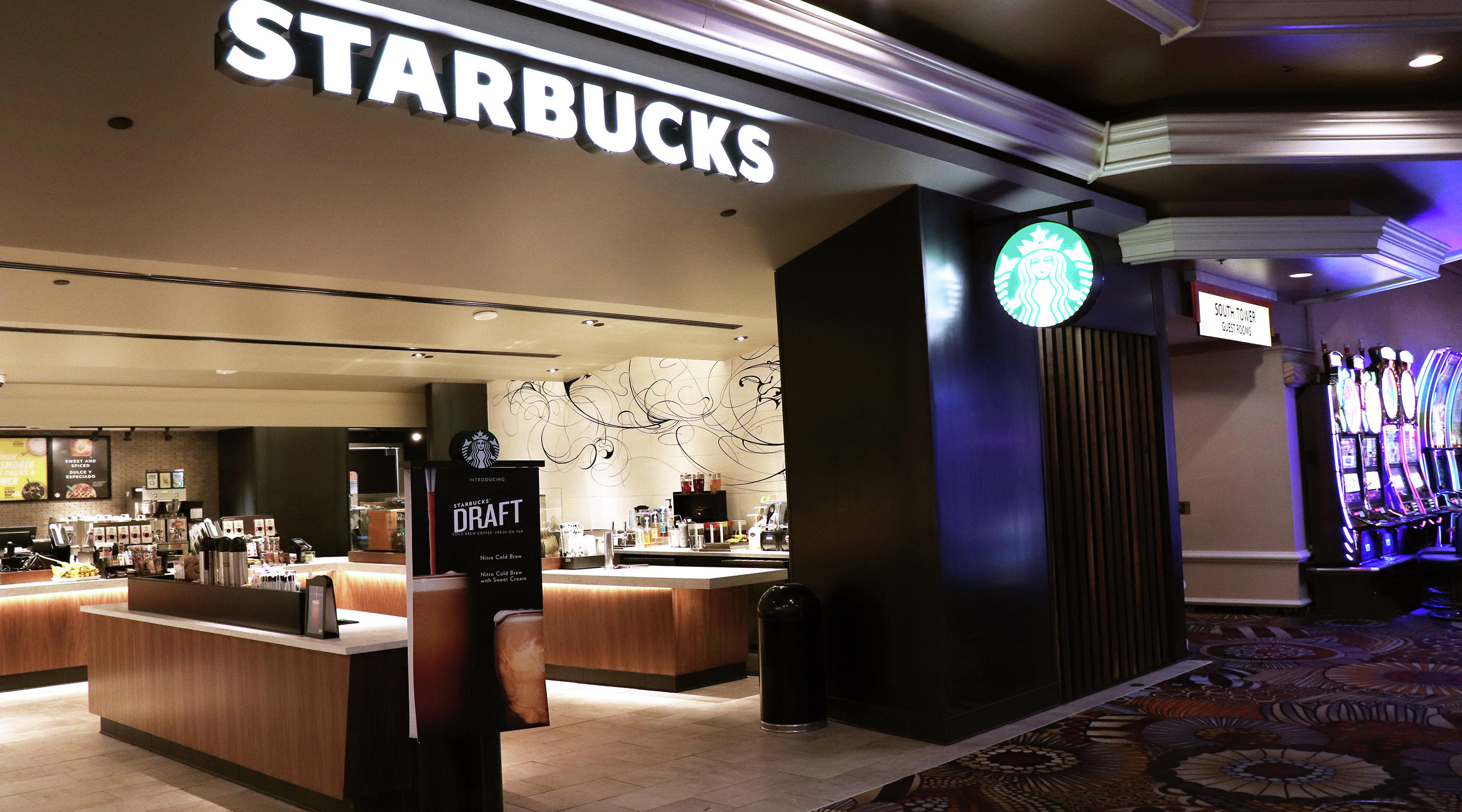 An architectural image of Starbucks at the MGM Grand lobby.