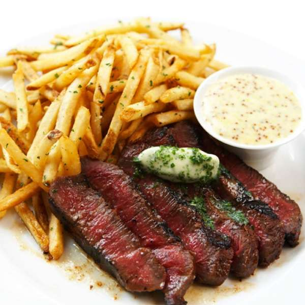 Prime Flat Iron Steak, Blue Cheese Butter, Red Wine Sauce, French Fries at Wolfgang Puck