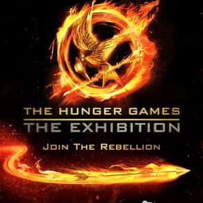 The logo for The Hunger Games - The Exhibition at MGM Grand.n