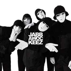 Black and white image of Jabbwockeez performers.