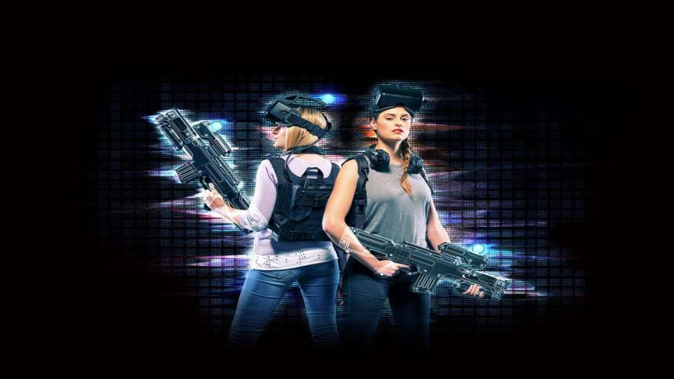 Two women playing a virtual reality game at MGM Grand.