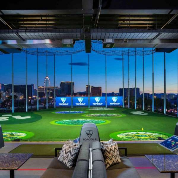 Interior Hitting Bay Shot at Topgolf Las Vegas